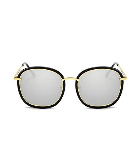 MYLL Neue Koreanische Damen Persönlichkeit Sonnenbrille 2017 Große Metallrahmen Stern Modelle Wilden Trend Brillen UV400 Schutz,Silver-OneSize