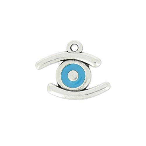 Ciondolo occhio portafortuna smaltato 23 mm Blu/argentato antico x1