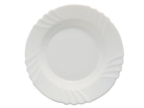 BORMIOLI ROCCO 6181502 ebro Assiette Creuse, 23,5 cm, Verre Opale, Blanc - Lot De 6
