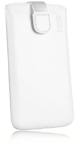 mumbi ECHT Ledertasche Samsung Galaxy Xcover 4 Tasche Leder Etui weiss (Lasche mit Rückzugfunktion Ausziehhilfe)