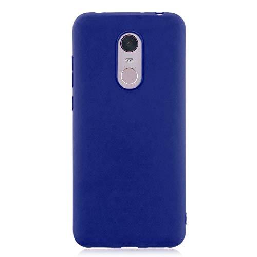 cuzz Funda para Xiaomi Redmi 5 Plus+{Protector de Pantalla de Vidrio Templado} Carcasa Silicona Suave Gel Rasguño y Resistente Teléfono Móvil Cover-Azul Oscuro