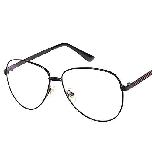 Yiph-Sunglass Sonnenbrillen Mode Womnen's Fashion Casual Myopie Brille Große Fassung mit Flacher Linse. (Farbe : Schwarz)