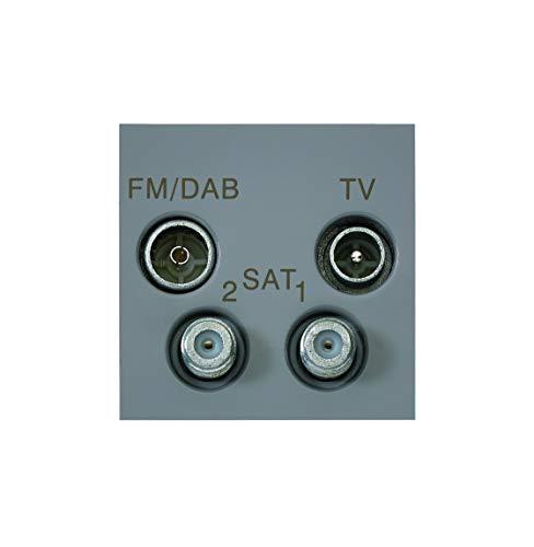 MK Electric Elements Euro 2-Modul, für TV-FM/Dab-2 Sat-Quad Steckdose