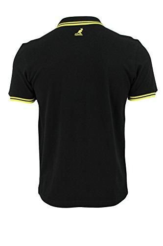 Kangol Herren Poloshirt Pique Polo 'Joshua' Baumwolle T-Shirt Dopplestreifen Kragen Schwarz Gelb