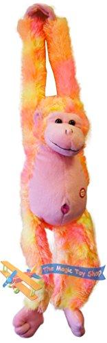 Colgando de la felpa del mono suave del juguete de peluche acogedor con sonidos brazo largo (naranja)