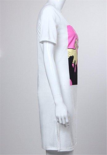 QIYUN.Z Le Donne Di Modo Vestito Da Partito Di Sera Allentato Vestito Dalla Stampa Lato Spaccato Della Moda Caldo Bianca