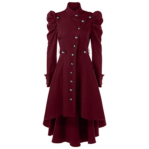 PinkLu Damen Winterjacke Langer schwarzer Vintage Mantel Elegante hochgeschlossene Streetwear Mittelalter Gotischer Stil Jackenkleid Slim Fit Taille Festliches Kostüm Plissee Ärmel Weihnachtskleidung -