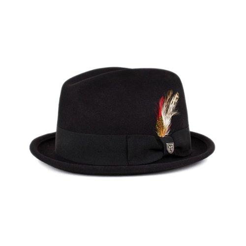 Brixton réflexion Chapeau en Feutre Noir avec Rouge Plumes - Noir -