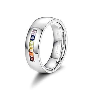 BE STEEL Besteel Edelstahl Cz Gay LGBT Ring Regenbogen Farbe Zirkonia Intarsien Ring Verlobungs Breit Ring Silber 54-70