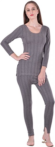 Lux Inferno Ladies 3/4 Thermal Top and Lower Set!_Set!_85!_Grey