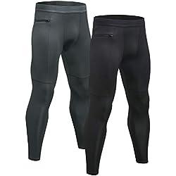Niksa Mallas Hombre Gym Leggings Deporte Pantalón Largo de Compresión Negro Gris XL
