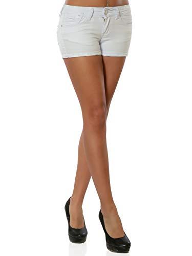 Damen Jeans Shorts Hot-Pants Kurze Sommer Hose DA 15988 Farbe Weiß Größe L / 40
