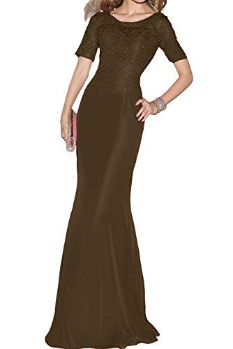 Toscana sposa donna rotondo Etui pizzo chiffon manica corta sera vestiti lungo Party vestiti prom abiti Cioccolato