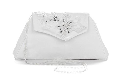 Frühlings-SALE! Brauttasche Abendtasche festliche Tasche Weiß/Silber mit Stickerei und Perlenkette