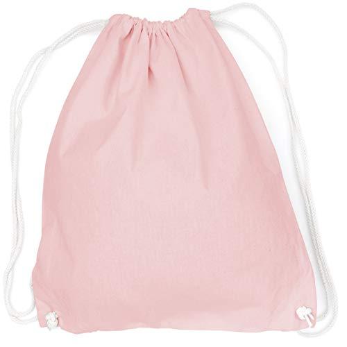 vanVerden - Turnbeutel aus Baumwolle - Hell-Rosa blanko/unbedruckt - rosa Stoff-Beutel mit Kordelzug Verschluss (Rosa Rucksack Für Mädchen)