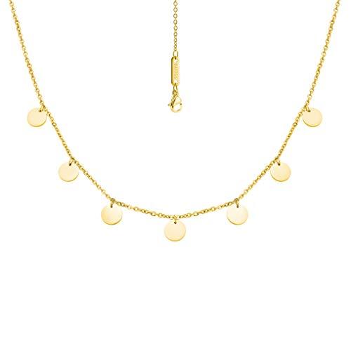 BAFFOS® Plättchen Halskette aus widerstandsfähigem Edelstahl in Farbe Gold für Damen - wundervoller runder Choker Schmuck + Gratis Geschenkverpackung (Schmuck Ring Rose Gold)