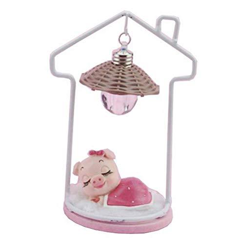 Healifty Dekorative Nachtlichter schlafendes Schwein niedliche Tischlampe Dekor für Kinder (pink)