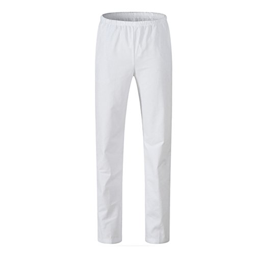 maiqu1983 Donna Infermiera femminile bianco rosa verde blu pantalone lavoro medico pantaloni vita elastica elastico in vita cintura in vita (Bianco-elastico in vita, S)