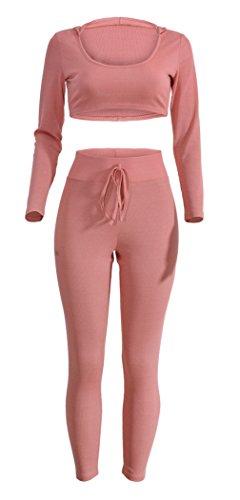 bella-donna-sportivo-abbigliamento-manica-lunga-felpa-con-cappuccio-e-pantaloni-rosa-busto-78cm