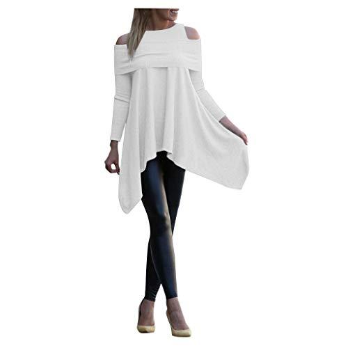 Binggong Pullover Damen Asymmetrisch Langarm Off Shoulder Sweatshirt Frauen Einfarbig Bluse Mode Frühling Tunika Tops Große Größen Longshirts M-5XL