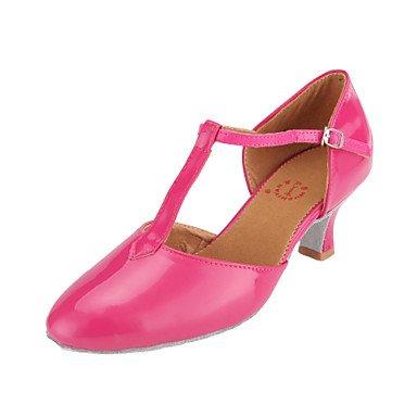 Silence @ Chaussures de danse pour femme moderne/piste de danse Cuir verni Chunky Talon Noir/fuchsia/bleu/rouge bleu clair