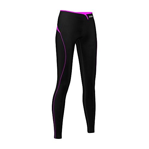 FDXLeggings da donna, termici, intimi, a compressione, per fitness/corsa/palestra, Black/Purple, XL (UK Dress Size 18-20) Black / Pink