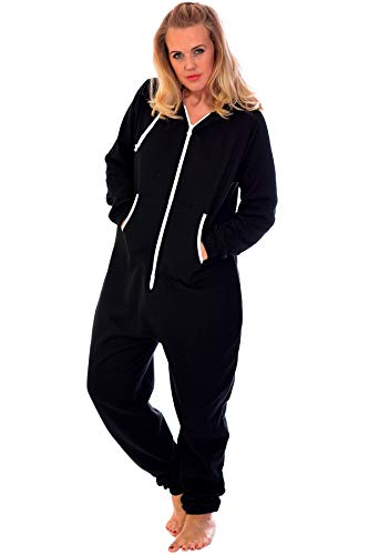 Nouvelle Collection Unisex Hooded Zip Onesie Black M (Plus Size Onesies)