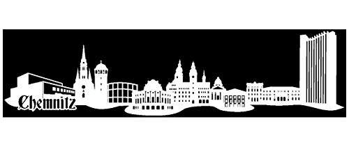 Samunshi® Wandtattoo Chemnitz Skyline Wandaufkleber in 6 Größen und 19 Farben (150x37cm weiß)