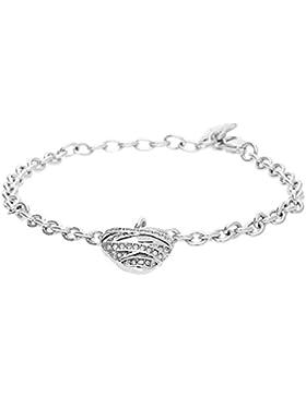 Guess Damen-Armband Herz Messing Glas weiß 17.0 cm - UBB21594-S