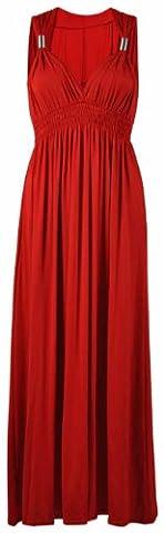 Neuf Femmes Long Extensible Femmes Col V Sans Manche Style Grecque Robe Longue Été - Rouge, Femme, EU 40/42