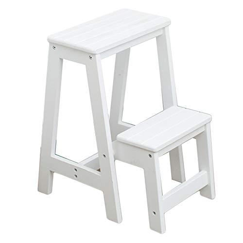 2 Tier Ladder Chair Utility Sgabello multifunzione a doppio uso Sgabello moderno in legno massello per cucina e soggiorno, pieghevole (colore : Bianca)