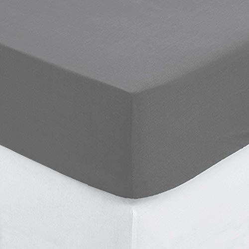 ATMOSPHERA Spannbetttuch Spannbettlaken Bettlaken Baumwolle, 190x90cm Grau