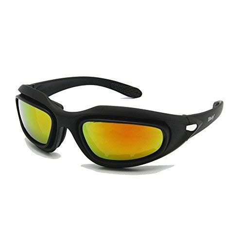 EnzoDate Daisy One C5 Armee-Brille, polarisiert, 4 Gläser, für Outdoor-Sportarten, Militär-Sonnenbrille, Kriegsspiel, Motorrad, Fahrrad für Herren, Einheitsgröße