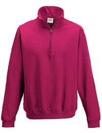 AWDis Sophomore Zip Neck Sweatshirt (Large, Hot Pink)