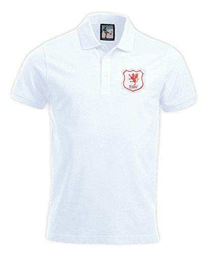 Retro Drache Wales Waliser 1920er Fußball Polo Größen s-XXXL Gesticktes Logo Weiß