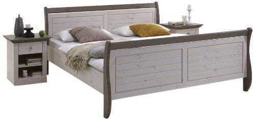 Steens Monaco Doppelbett, mit Mittelsteg, Ligefläche 180 x 200 cm, Kiefer massiv, weiß/grau