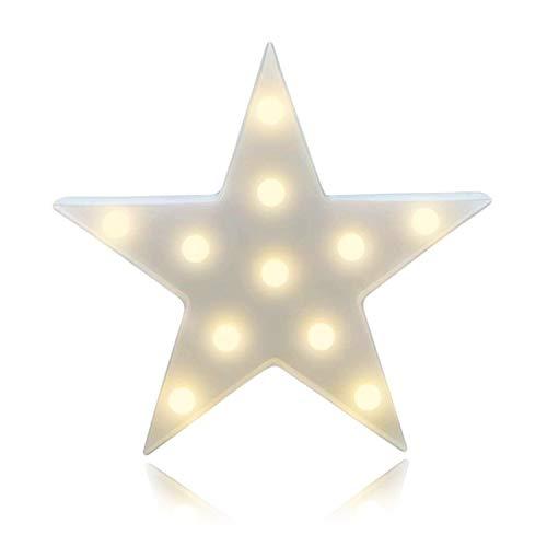 Lámparas decorativas, Atump Decoración Iluminación Lámpara de mesa de luz LED Iluminación de Navidad Decoración de fiesta Lámpara de la habitación de los niños (estrella blanca)