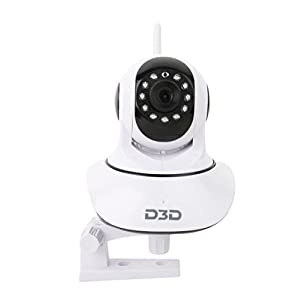 D3D Wireless HD IP WiFi CCTV [Watch Online Demo Right Now] Indoor Security Camera (Support Upto 128 GB SD Card) (White…