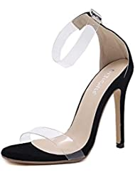 NobS Ladies Open Toe Bombas Stiletto Transparente Tacones Altas Sandalias Suede Matching Mujeres Zapatos Huecos , black , 39