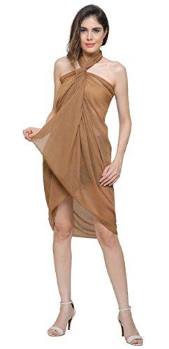 Einfarbig Sarong, Coverup, Schal, übergröße 110cm x 200cm 50%Viskose 50%Baumwolle - beige