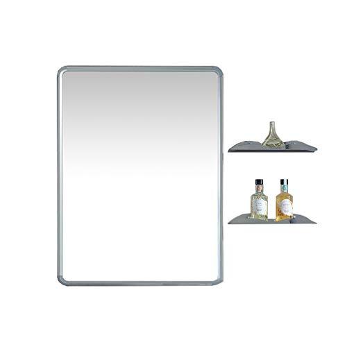 ZTH Chambre À Coucher Moderne Miroir Mural Salle De Bain Avec Étagère En Acier Inoxydable Brillant Miroir Latéral Dressing Combinaison Miroir 60x80cm A+