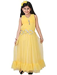5e8b2244b52 Qeboo Beautiful Designer Yellow Color Party Wear Knee Length Dress for Baby  Girls Girls(