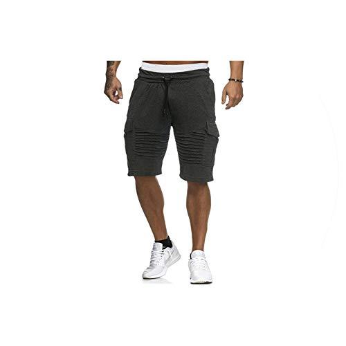 Mens Cargo Shorts Summer Casual Pocket Fitness Shorts Joggers Fashion Men Plus Size 3XL Trousers Sweatpants Short Homme Clothes,Black,L Pleated Ankle Strap