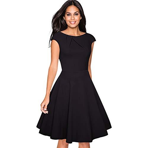 CHIC DIARY 1950er Retro Cocktailkleid Damen A Linien Kleid runder Kragen Rockabilly Elegant Abendkleid Schwarz (Für Business-kostüme Damen)