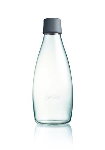 Retap ApS Wiederverwendbare Wasserflasche mit Verschluss - 0,8 Liter, Deckelfarbe:Grau (Wasserflaschen Wiederverwendbare Kleine)