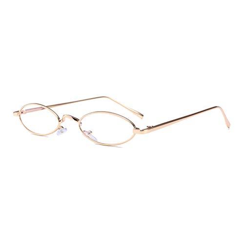 Junecat Männer Frauen kleine ovale Sonnenbrille dünner Metallrahmen Sommer Sunnies Unisex Sonnenbrillen UV400 Klar Brillen