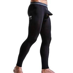 Li KererMen Thermo-Unterwäsche Männliche Unterhosen Leggings Hosen Streifendruck Offene Strumpfhose Kompressions-Trainingshose Solide