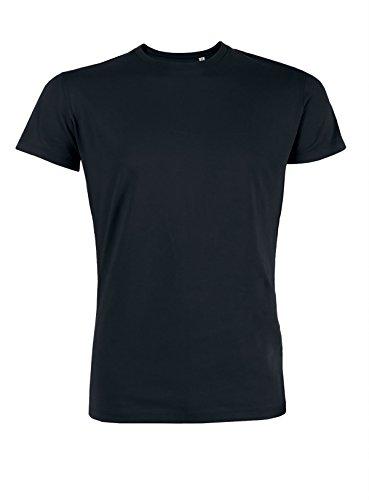 YTWOO Herren Rundhals Tshirt aus Bio-Baumwolle- in diversen Farben Schwarz und Weiß bis 2XL - Organic, Herren Tshirt Bio, Herren Tshirt Biobaumwolle(M, Schwarz) - 100% Baumwolle Schwarz T-shirt