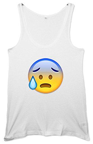 Nervous Face Emoji Women's Tunic Weste Weiß
