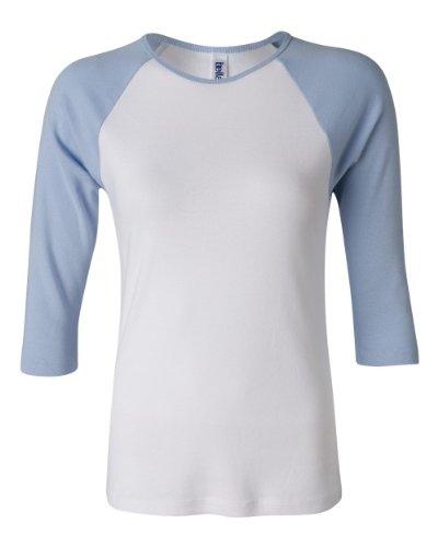 Bella Damen-11Rib 3/4Sleeve Raglan T-Shirt 2000 Gr. XX-Large, White/Baby Blue (Baumwolle Damen T-shirts Crewneck Bella)